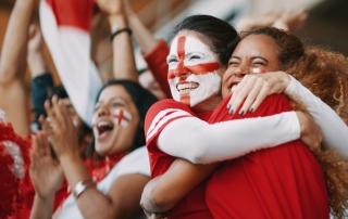 English spectators celebrating their team's victory